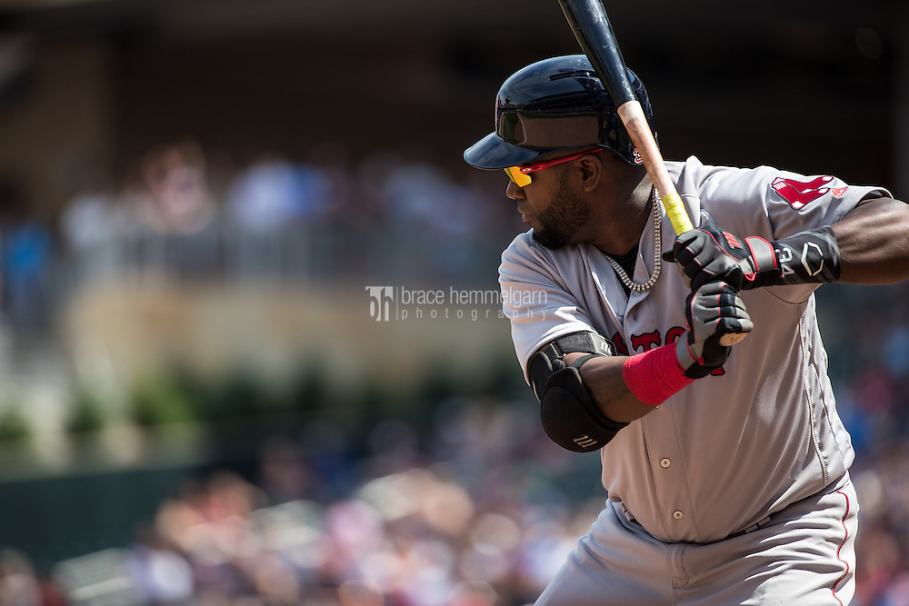 MINNEAPOLIS, MN- JUNE 12: David Ortiz #34 of the Boston Red Sox bats against the Minnesota Twins on June 12, 2016 at Target Field in Minneapolis, Minnesota. The Twins defeated the Red Sox 7-4. (Photo by Brace Hemmelgarn) *** Local Caption *** David Ortiz
