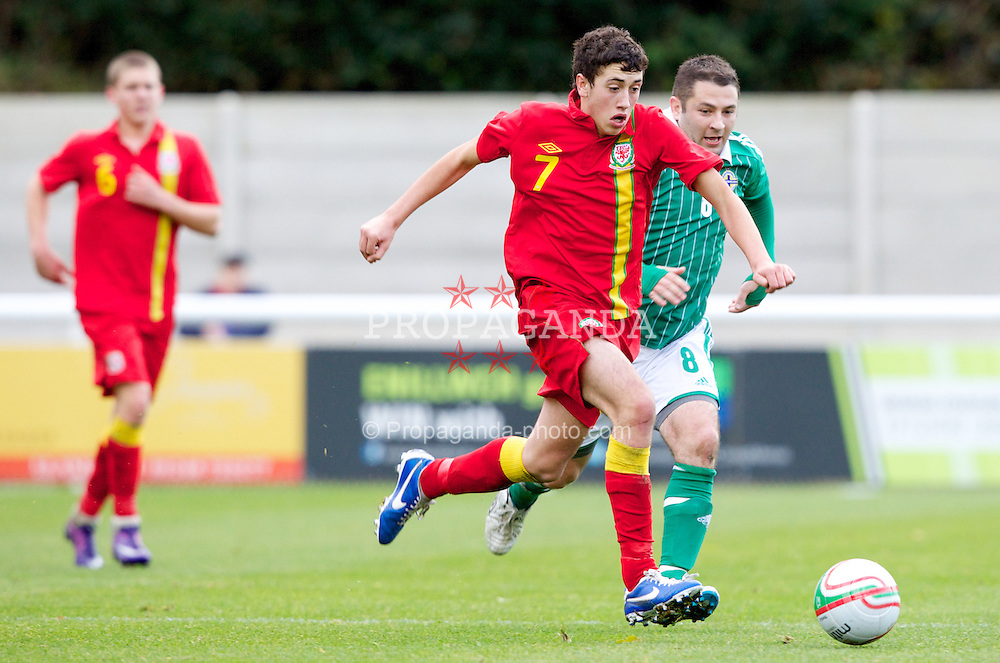 BANGOR, WALES - Thursday, November 8, 2012: Wales' Tom May in action against Northern Ireland's Darren Marshall during the International Learning Disability Fixture at the Nantporth Stadium. (Pic by Vegard Grott/Propaganda)
