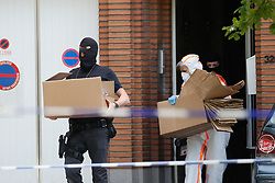 June 21, 2017 - Brussels, Belgium - Police searching in the house of the perpetrator in the Louis Mettewielaan - Boulevard Louis Mettewie street in Sint-Jans-Molenbeek - Molenbeek-Saint-Jean, Brussels. Yesterday a small explosion occurred in the 'Brussels Central - Bruxelles-Central - Brussel-Centraal' train station. The suspected terrorist was shot dead on the scene, according to the first information he is the only victim of the incident.  (Credit Image: © Bruno Fahy/Belga via ZUMA Press)