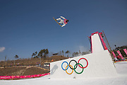 Kyle Mack, USA, during the mens snowboard big air practice at the Pyeongchang 2018 Winter Olympics on 22nd February 2018, at the Alpensia Ski Jumping Centre in Pyeongchang-gun, South Korea