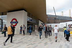 © Licensed to London News. 20/09/2021. London, UK. Commuters and visitors on the first day Battersea Power tube station opens.  Along with Nine Elms station, the new Norther Line London underground stations is the first major expansion of the Tube since the Jubilee line in the 1990s. Photo credit: Ray Tang/LNP