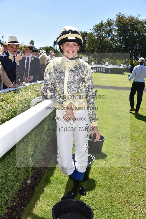 Rosie Tapner at the Qatar Goodwood Festival - Glorious Goodwood, Goodwood Racecourse, West Sussex 02 August 2018.