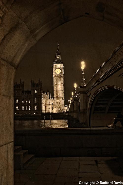 Parliament and Big Ben at night, London, England, UK. Sepia.