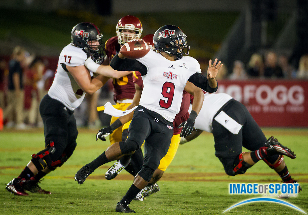 Sep 5, 2015; Los Angeles, CA, USA; Arkansas State Red Wolves quarterback Fredi Knighten (9) throws the ball against the Southern California Trojans at Los Angeles Memorial Coliseum. Photo by Ed Ruvalcaba