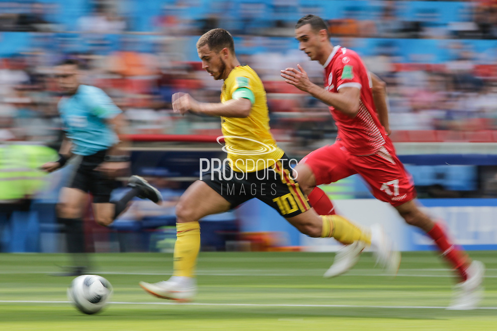 Eden Hazard of Belgium and Ellyes Skhiri of Tunisia during the 2018 FIFA World Cup Russia, Group G football match between Belgium and Tunisia on June 23, 2018 at Spartak Stadium in Moscow, Russia - Photo Thiago Bernardes / FramePhoto / ProSportsImages / DPPI