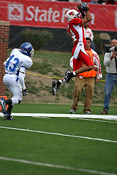 13 October 2007: Eyad Salem breaks free of K.C. Wilson and leaps into the air to catch a pass. The Indiana State Sycamores were jacked 69-17 by the Illinois State Redbirds at Hancock Stadium on the campus of Illinois State University in Normal Illinois.