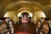 Underground celler in Vineyard 29 Winery's caves near St. Helana, in California's Napa Valley