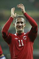 Football - International Friendly - Ireland vs. Norway<br /> Norway's Morten Gamst Pederson applauds the travelling fans at the Aviva Stadium, Dublin