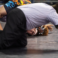 Grants Pirate Makaio Espinosa, wrestles Kirtland Central Bronco Chase Gibbs in the first round of the New Mexico Activities Association State Wrestling Championships Friday morning at the Santa Ana Star Center in Rio Rancho.