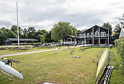 Henley on Thames, United Kingdom. 2016 Henley Masters' Regatta. Henley Reach. England. on Saturday  09/07/2016   [Mandatory Credit/ Peter SPURRIER/Intersport Images]<br /> <br /> Upper Thames RC. Club House and Boathouse Shed. Rowing, Henley Reach, Henley Masters' Regatta.<br /> <br /> General View,  Henley Reach, venue, for the 2016 Henley Masters Regatta.