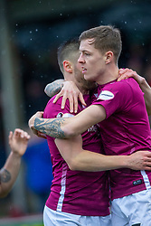 Arbroath's David Gold celebrates after scoring their first goal. half time : Arbroath 2 v 0 Queen of the South, Scottish Championship game played 15/2/2020 at Arbroath's home ground, Gayfield Park.