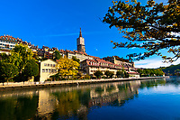 The Aare River with the Munster (Cathedral of Bern) in background, Bern, Canton Bern, Switzerland