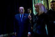 Silvio Berlusconi entra nello studio della trasmissione televisiva Otto e Mezza accompagnato da Lili Gruber oggi, 8 gennaio 2013<br /> Foto OneShot/Christian Mantuano