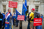 On the day the five week suspension of British Parliament begins, pro remain campaigners demonstrate outside the Cabinet Office in London, United Kingdom on 10th September 2019.