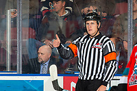 KELOWNA, BC - NOVEMBER 8: Referee Ward Pateman gives the thumbs up that a goal by the Kelowna Rockets against the Medicine Hat Tigers under review is good at Prospera Place on November 8, 2019 in Kelowna, Canada. (Photo by Marissa Baecker/Shoot the Breeze)