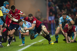 January 19, 2019 - Limerick, Ireland - Henry Slade of Exeter tackled by Tommy O'Donnell of Munster during the Heineken Champions Cup match between Munster Rugby and Exeter Chiefs at Thomond Park in Limerick, Ireland on January 19, 2019  (Credit Image: © Andrew Surma/NurPhoto via ZUMA Press)