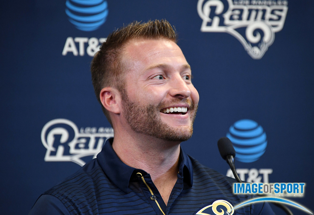 Apr 5, 2018; Thousand Oaks, CA, USA: Los Angeles Rams coach Sean McVay at a press conference at Cal Lutheran.