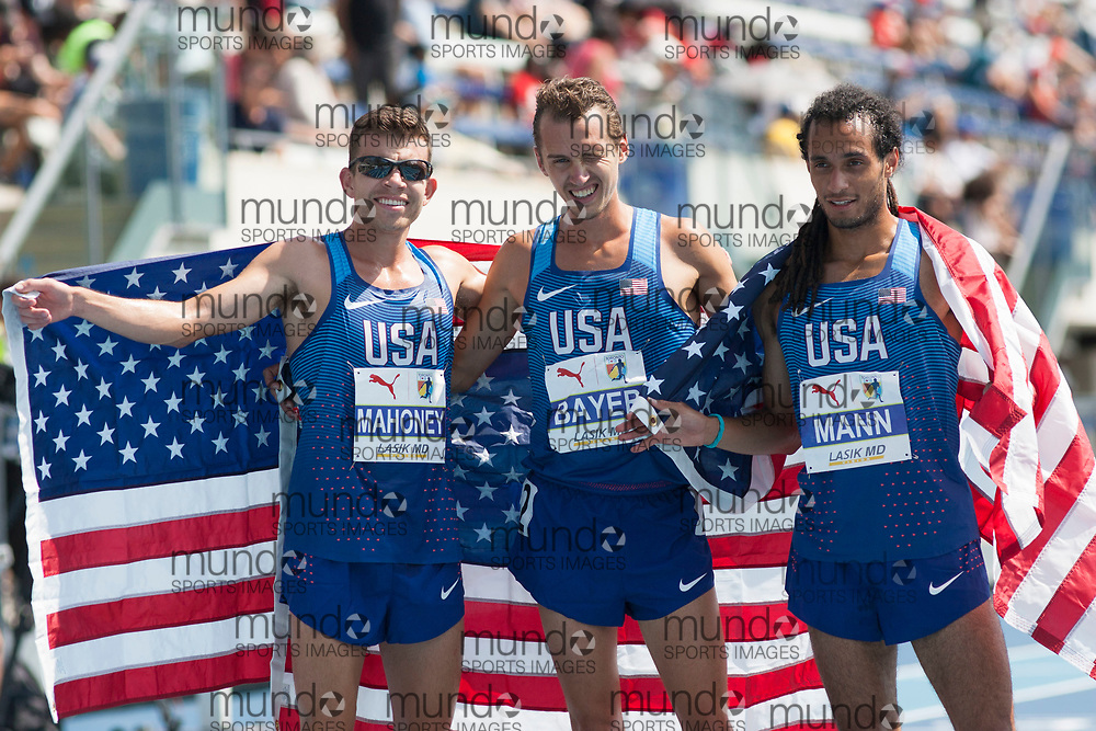 Toronto, ON -- 12 August 2018: Left to right, Travis Mahoney (USA, silver), Andy Bayer (USA, gold), Jordan Mann (USA, bronze) celebrate a sweep in the 3000m steeplechase at the 2018 North America, Central America, and Caribbean Athletics Association (NACAC) Track and Field Championships held at Varsity Stadium, Toronto, Canada. (Photo by Sean Burges / Mundo Sport Images).
