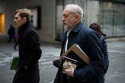© Licensed to London News Pictures. 17/01/2016. London, UK. Labour party leader JEREMY CORBYN arriving at BBC Broadcasting House with his adviser SEUMAS MILNE (left) to appear on The Andrew Marr Show on BBC One. Photo credit: Ben Cawthra/LNP
