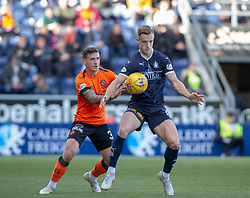 Dundee United's Fraser Aird and Falkirk's Deimantas Petravicius. half time : Falkirk 0 v o Dundee United, Scottish Championship game played 22/9/2018 at The Falkirk Stadium.