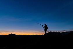 THEMENBILD - Sonnenuntergangs Wanderung auf das Figerhorn (2743 Meter) im Kalser Ködnitztal, im Bild ein Wanderer während dem Abstieg genießt den Sonnenuntergang in den Bergen // Sunset hike to the Figerhorn (2743 metres) in the Kalser Ködnitztal, in the picture a hiker during the descent enjoys the sunset in the mountains. EXPA Pictures © 2020, PhotoCredit: EXPA/ Lukas Huter