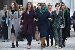 (From L-R) Deputy mayor in charge of equality and women's rights in Fontenays-sous-Bois Assia Benziane, French Junior Minister attached to the Prime Minister in charge of Gender Equality Marlene Schiappa and actress Emma Watson arriving at the elysee palace for the Equality Women's Advisory Council in Paris, France, on February 19, 2019. Photo by Eliot Blondet/ABACAPRESS.COM