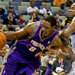 December 30, 2011; New Orleans, LA, USA; Phoenix Suns center Channing Frye (8) drives by New Orleans Hornets point guard Jarrett Jack (2) during the second half of a game at the New Orleans Arena. The Suns defeated the Hornets 93-78.   Mandatory Credit: Derick E. Hingle-US PRESSWIRE