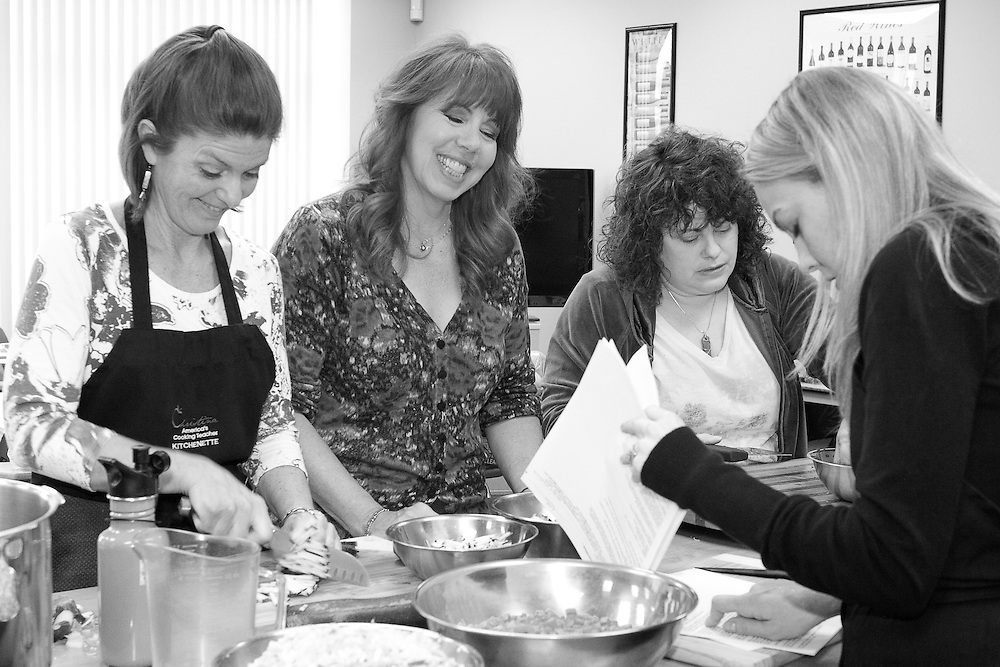 The production staff at Christina's Cooking Class prepares for another live taping of her forthcoming PBS series. Christina is shooting a series of her dynamic cooking demonstrations at the Restaurant School at Walnut Hill College to be broadcast on PBS starting in September.