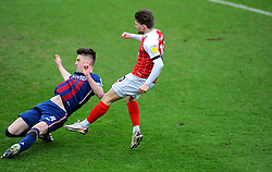 Paudie O'Connor of Bradford City blocks a shot from Alfie May of Cheltenham Town- Mandatory by-line: Nizaam Jones/JMP - 20/02/2021 - FOOTBALL - Jonny-Rocks Stadium - Cheltenham, England - Cheltenham Town v Bradford City - Sky Bet League Two