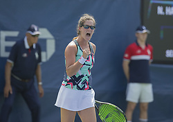 August 22, 2017 - New York, New York, United States - Jamie Loeb of USA reacts during qualifying game against Na-Lae Han of Korea at US Open 2017  (Credit Image: © Lev Radin/Pacific Press via ZUMA Wire)