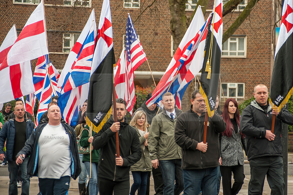 © Licensed to London News Pictures. 02/04/2015. Baker Street, London, UK. Members of the Britain First movement gather outside Baker Street station to march to the nearby London Central Mosque to protest against the Islamic Rally.  Photo credit : Stephen Chung/LNP