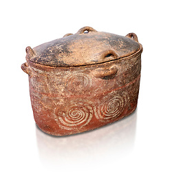 The Minoan clay burial larnax chest with swirl design,  Neopalatial period 1700-1450 BC; Heraklion Archaeological  Museum, white background.