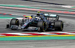 May 10, 2019 - Barcelona, Spain - VALTTERI BOTTAS leads Hamilton as Mercedes dominated second practice at the Spanish Grand Prix. Bottas, who leads the championship by one point after four races, was just 0.049secs quicker than Hamilton, who improved his time on his second lap on the fastest 'soft' tires while his team-mate did not. (Credit Image: © Hoch Zwei via ZUMA Wire)