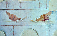 Roman Fresco of a chickens from The Large Columbarium in Villa Doria Panphilj, Rome. A columbarium is usually a type of tomb with walls lined by niches that hold urns containing the ashes of the dead.  Large columbaria were built in Rome between the end of the Republican Era and the Flavio Principality (second half of the first century AD).  Museo Nazionale Romano ( National Roman Museum), Rome, Italy. .<br /> <br /> If you prefer to buy from our ALAMY PHOTO LIBRARY  Collection visit : https://www.alamy.com/portfolio/paul-williams-funkystock/national-roman-museum-rome-fresco.html<br /> <br /> Visit our ROMAN ART & HISTORIC SITES PHOTO COLLECTIONS for more photos to download or buy as wall art prints https://funkystock.photoshelter.com/gallery-collection/The-Romans-Art-Artefacts-Antiquities-Historic-Sites-Pictures-Images/C0000r2uLJJo9_s0