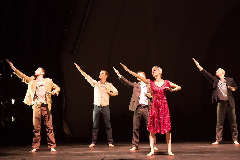 """The corps de ballet in the role of a Greek chorus in Barak Marshall's """"Harry""""."""