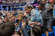 Boxing promoter Don King speaks to reporters on the floor of the Republican National Convention July 19, 2016 in Cleveland, Ohio.