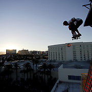 LAS VEGAS, NV, April 6 2006: Skateboarding pro Danny Way sets a new Guinness World Record by jumping off the Fender Guitar at the Hard Rock Hotel in Las Vegas, Nevada on April 6, 2006. The record was for Freefall World Record on skateboard. He fell 28 feet and landed on a ramp. The height of the drop from the guitar from the ground was 78 feet. Danny completed the trick twice. Photographed for Sports Illustrated.