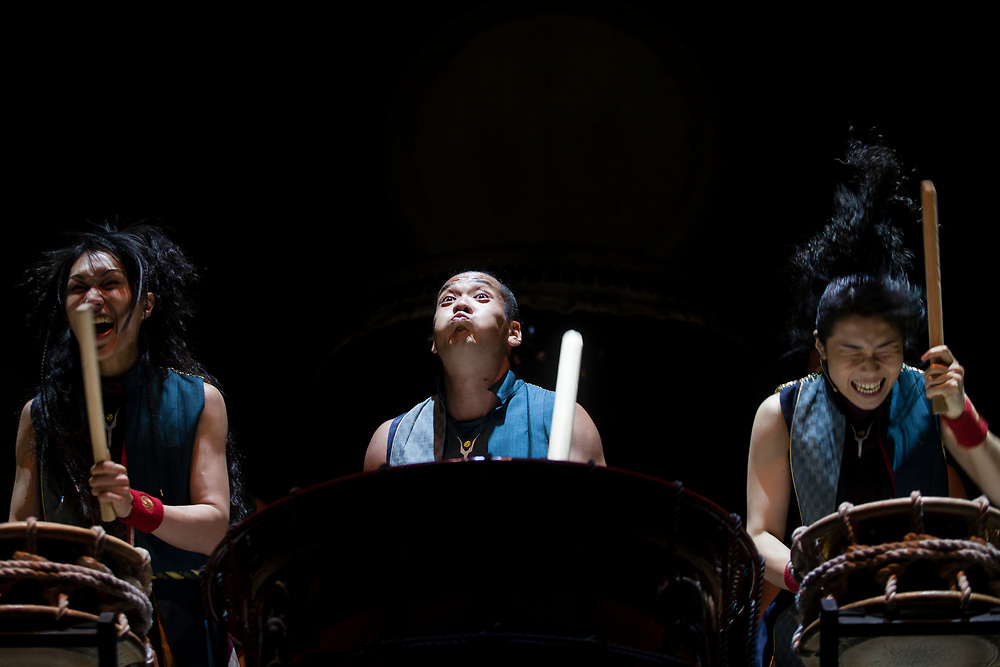 """Members of the Japanese drummer band """"Yamato - The Drummers of Japan"""" perform during the opening night of the 2012 Israel Festival, at the Hebrew University in Jerusalem, Israel, on May 24, 2012."""