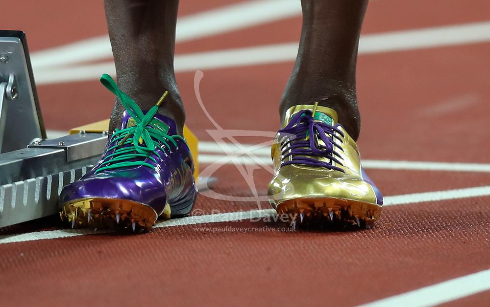 London, 2017-August-04. Usain Bolt's golden spikes at the IAAF World Championships London 2017. Paul Davey.