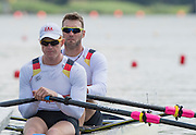 Poznan, POLAND. Men's Double Sculls Heats, GER M2X, Bow: Marcel HACKER and Stephan KRUEGER at the stat of their heat at the  2015 FISA European Rowing Championships. Venue, Lake Malta. Friday 29.05.2015. [Mandatory Credit: Peter Spurrier/Intersport Images]
