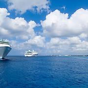 Cruise ships disembarking. Cozumel, Quintana Roo. Mexico.