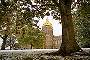 19 OCTOBER 2020 - DES MOINES, IOWA: Snow blankets the grounds of the Iowa State Capitol in Des Moines.     PHOTO BY JACK KURTZ
