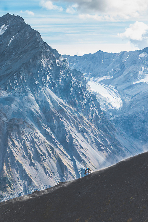Carson Storch rides down a previously untouched slope in the Tatshenshini-Alsek Provincial Park in British Columbia, Canada on September 4, 2016.