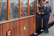 Zijne Majesteit Koning Willem-Alexander en Hare Majesteit Koningin Máxima bezoeken de provincie Zuid Holland .<br /> <br /> His Majesty King Willem-Alexander and Máxima Her Majesty Queen visits the province of Zuid Holland<br /> <br /> Op de foto / On the photo:  Koning en Koningin op het perron van museum RTM in de gemeente Goeree-Overflakkee waar het koningspaar per stoomtram naar de tramremise van het museum van de RTM gaat.<br /> <br /> King and Queen on the platform of RTM museum in the town of Goeree-Overflakkee wherethey by steamtrain goes to the tram depot of the museum of the RTM.