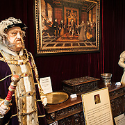 An exhibit at Sudely Castle depicting King Henry VIII and his sixth wife, Queen Catherine Parr. Sudeley Castle dates back to the 15th century, although an even older castle might have once been on the same site. It was the final home and burial place of King Henry VIII's last wife, Queen Catherine Parr (c. 1512-1548).