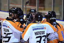 Team of Graz at Erste Bank Eishockey Liga (EBEL) 2008/2009 match between HK Acroni Jesenice and Eishockeyclub Graz 99ers, on January 9, 2009, in Dvorana Podmezaklja, Jesenice, Slovenia. (Photo by Vid Ponikvar / SportIda).