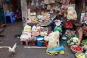 Dong Xuan Market in the old quarter of Hanoi, Vietnam.