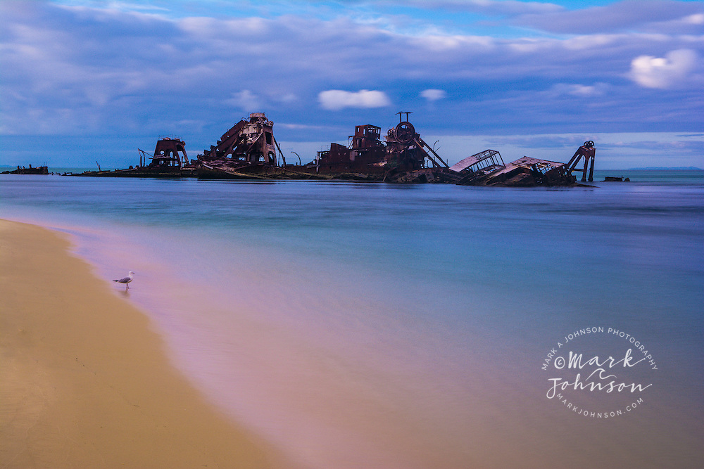 """""""The Wrecks"""" at Tangalooma, Moreton Island, Queensland, Australia. Several ships were sunk here to provide snorkeling and fishing opportunities for visitors"""