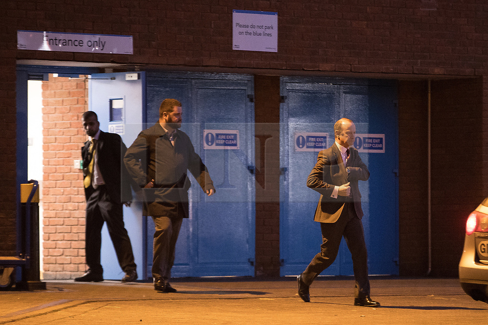 © Licensed to London News Pictures . 17/02/2018. Birmingham, UK. HENRY BOLTON leaves through a back door of the ICC after losing the vote . The NEC of UKIP meet to decide leader Henry Bolton's fate as leader following a racism row over his girlfriend Jo Marney and controversy over his claimed qualifications whilst serving in the military . Photo credit: Joel Goodman/LNP