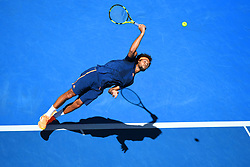 January 22, 2017 - Melbourne, Australia - JO WILFRIED TSONGA of France serves during his 4th Round Men's Singles win over D. Evans at the Australian Open Tennis Championships, in Melbourne Park. (Credit Image: © Panoramic via ZUMA Press)
